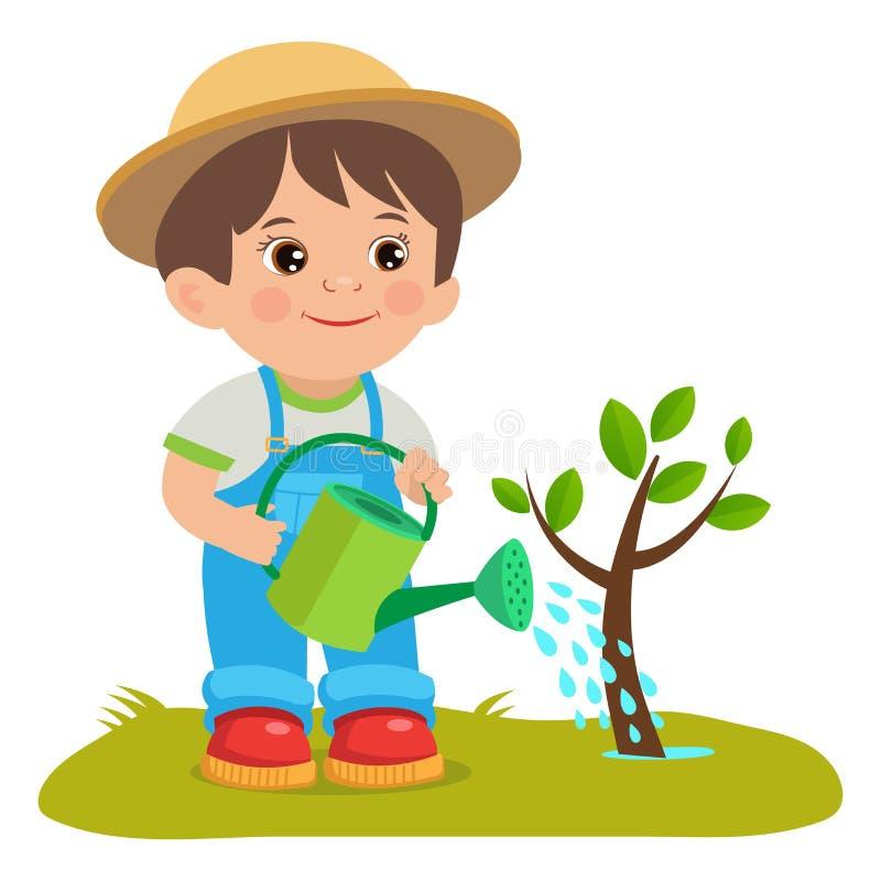 Wachsender junger Gärtner Netter Karikatur-Junge mit Gießkanne Junger Landwirt, der im Garten arbeitet vektor abbildung