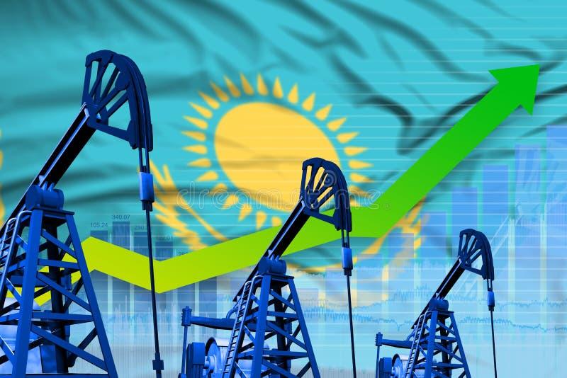 Wachsendes Diagramm auf Kasachstan-Flaggenhintergrund - industrielle Illustration der Kasachstan-Erdölindustrie oder des Marktkon vektor abbildung