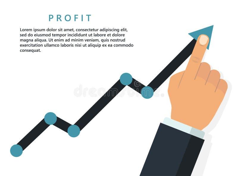 Wachsendes Geschäftskonzept des Gewinns Finger, der Diagrammpfeil hochhält Vektor stock abbildung