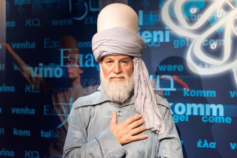 Wachsfigur Mevlana Celaleddin Rumi an Museum Madame Tussauds in Istanbul lizenzfreie stockbilder