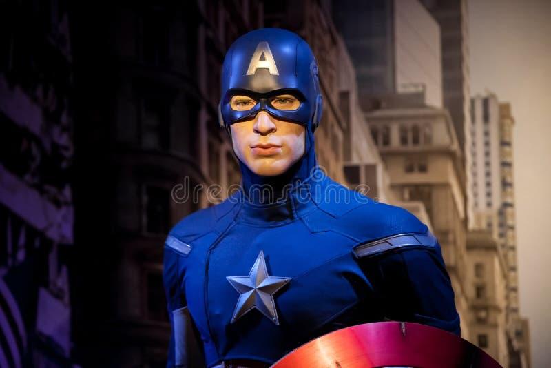 Wachsfigur von Chris Evans als Kapitän Amerika in Museum Madame Tussauds Wax in Amsterdam, die Niederlande lizenzfreies stockfoto