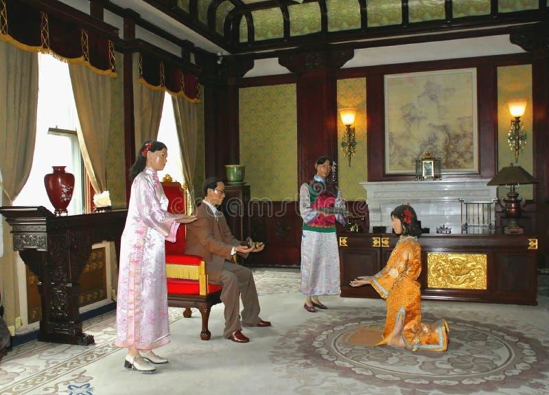 Wachsfiguren der Familie des letzten Kaisers lizenzfreie stockfotografie