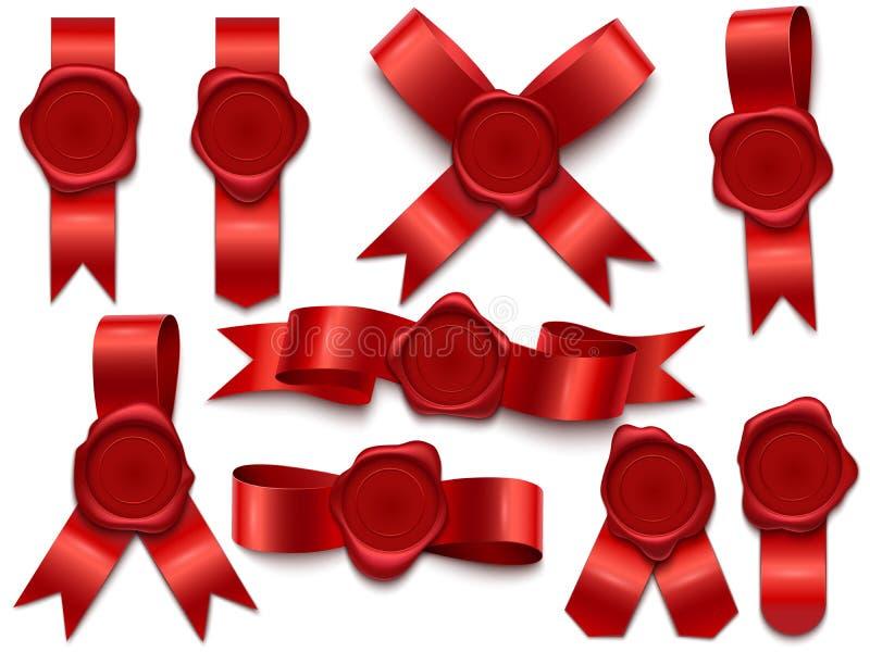 Wachssiegelband Wachsstempel auf Bändern, Poststempel des königlichen Postbuchstaben und erstklassige Wachssiegel lokalisiertem vektor abbildung