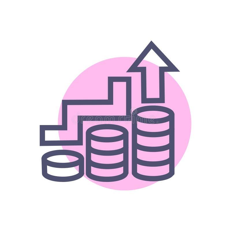 Wachstum oder Geschäftserfolgoder -zunahmegeschäftsikone Geschäfts-Wachstumsikone des Vektors saubere mit Münze und oben Pfeil lizenzfreie stockfotos