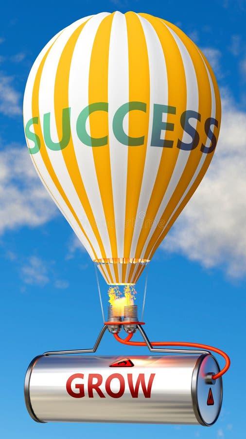 Wachstum und Erfolg - gezeigt als Wort Grow auf einem Kraftstofftank und einem Ballon, um zu symbolisieren, dass Wachstum zum Erf lizenzfreie abbildung