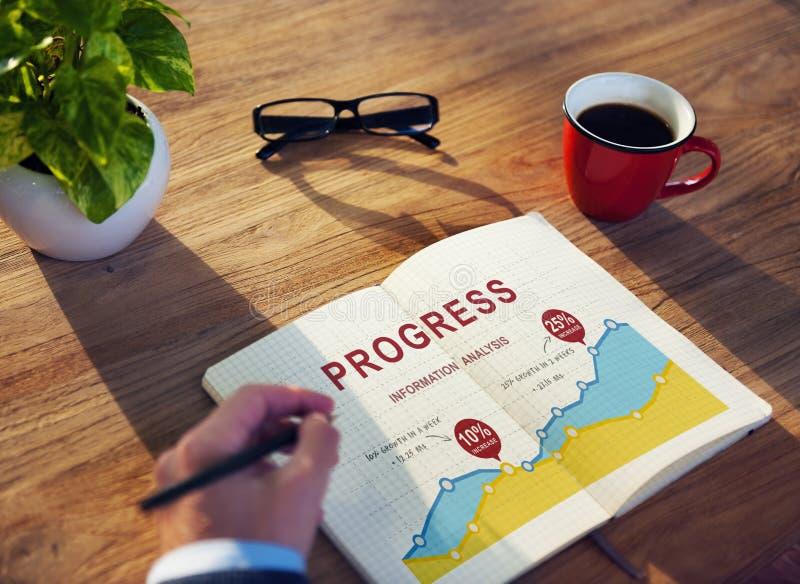 Wachstums-Berichts-Analyse-Leistungs-Konzept der kommerziellen Daten stockfotografie