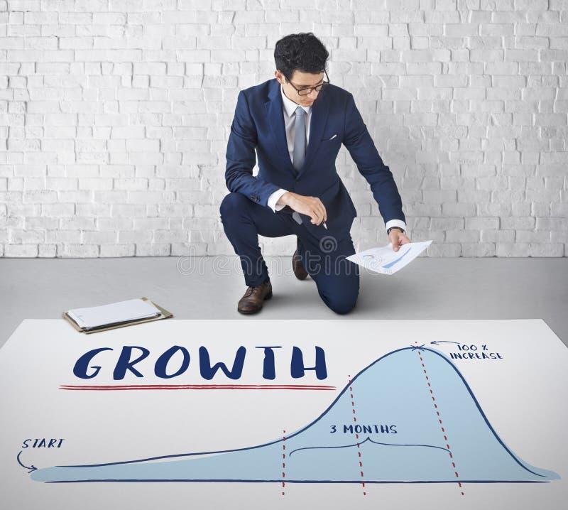 Wachstums-Diagramm-Diagramm-Unternehmensplan-Strategie-Konzept lizenzfreies stockfoto