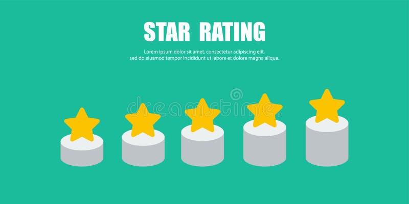 Wachstumsbewertung in den Sternen der Form fünf für Ihr Design stock abbildung