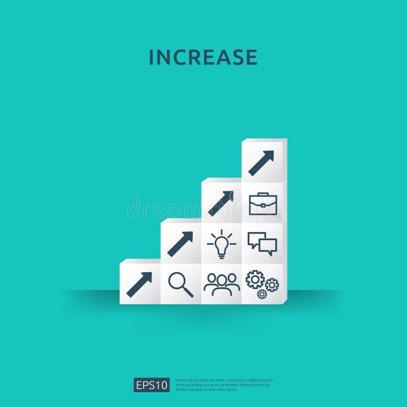 Wachstumsgeschäfts-Zunahmekonzept mit dem Stapeln des Blockes Schritttreppenleiter mit Pfeil herauf Vektorillustration für Erfolg lizenzfreies stockfoto