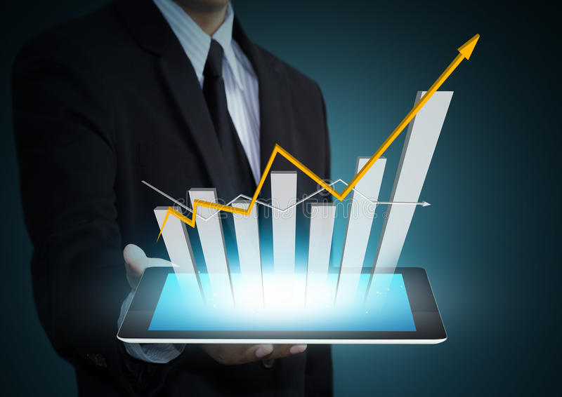 Wachstumstabelle auf Tablettentechnologie stockfotografie