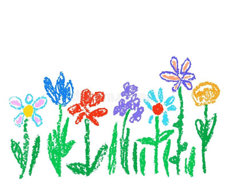Wachszeichenstift-Kind-` s gezeichnete bunte Blumen lokalisiert auf Weiß Kind-` s gezeichnete blühende Blumen Pastellkreide einge lizenzfreie abbildung