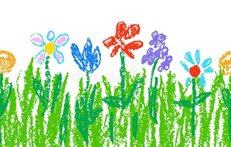 Wachszeichenstift-Kind-` s Hand gezeichnete bunte Blumen mit grünem Gras auf Weiß Nahtlose Kind-` s gezeichnete Blumen eingestell stock abbildung