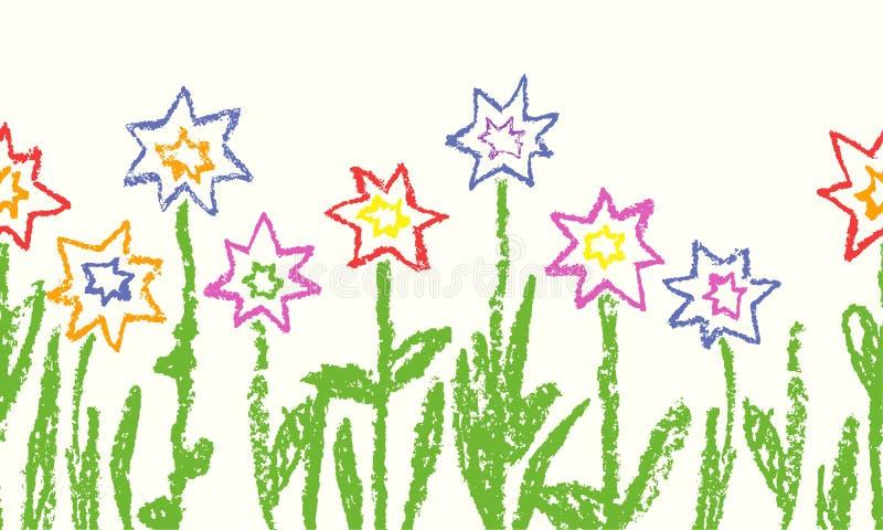 Wachszeichenstift wie Kind-` s Hand gezeichneter bunter Stern blüht mit grünem Gras Nahtlos wie Kind-` s gezeichnete Blumen einge vektor abbildung