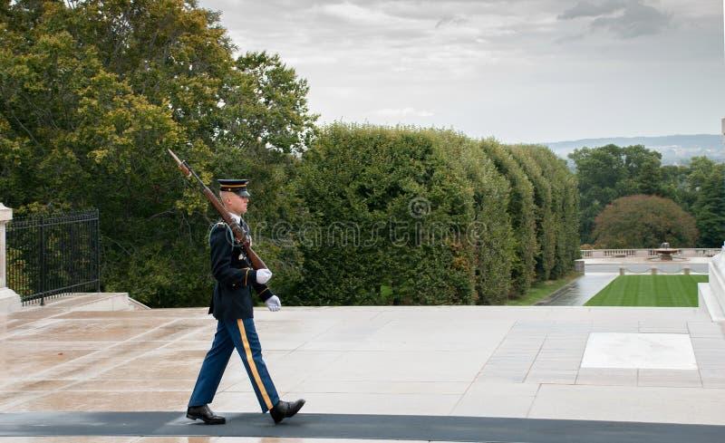 Wacht-verandering ceremonie bij de begraafplaats van Arlington in Washington royalty-vrije stock afbeelding