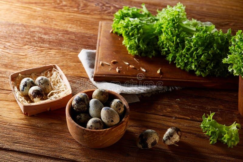Wachteleier im Kasten auf Serviette mit Grün verwischten natürlichen Blatthintergrund, selektiven Fokus, Nahaufnahme stockfotos