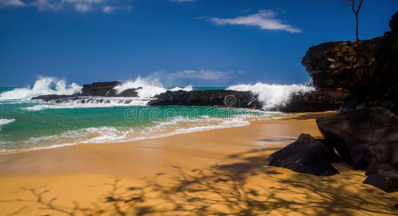 Wachtend op de golven, lumahaistrand royalty-vrije stock fotografie