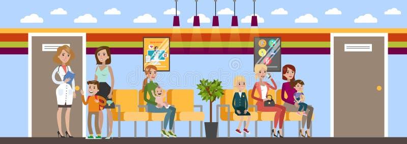 Wachtkamer in het kinderenziekenhuis royalty-vrije illustratie