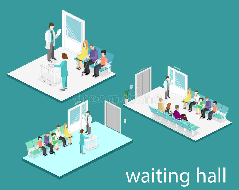 Wachtkamer in het ziekenhuis De bezoekers zitten op de stoelen in de gang de patiënt wacht om een arts te ontvangen royalty-vrije illustratie