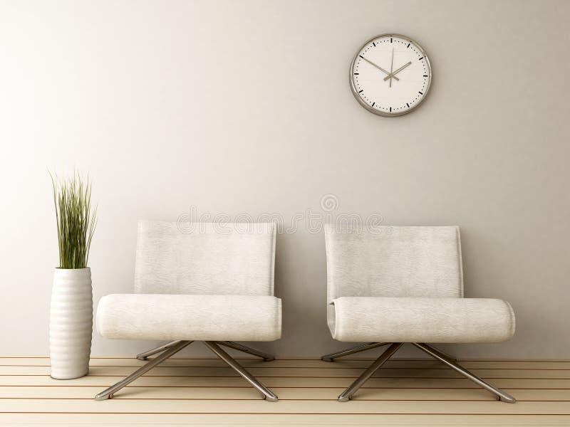 Wachtkamer met twee stoelen royalty-vrije illustratie