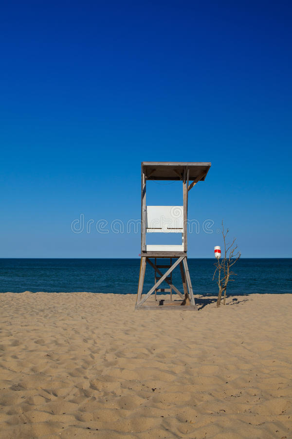 Wachturm auf dem leeren Strand, Cape Cod, Massachusetts, stockfotos
