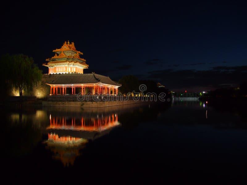 Wachturm der verbotenen Stadt nachts. lizenzfreie stockbilder