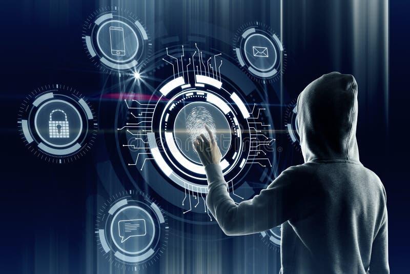 Wachtwoord en het binnendringen in een beveiligd computersysteem concept royalty-vrije stock foto