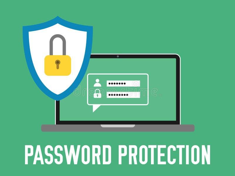 Wachtwoordbescherming Laptop met login en wachtwoordconcept vector illustratie