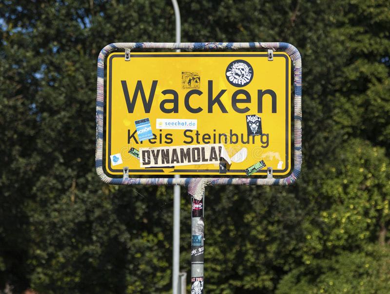 """Wacken city limits sign. Wacken, Germany - July 20, 2016: City limits sign of Wacken, home of annual """"Wacken Open Air"""", world's largest Metal royalty free stock photography"""