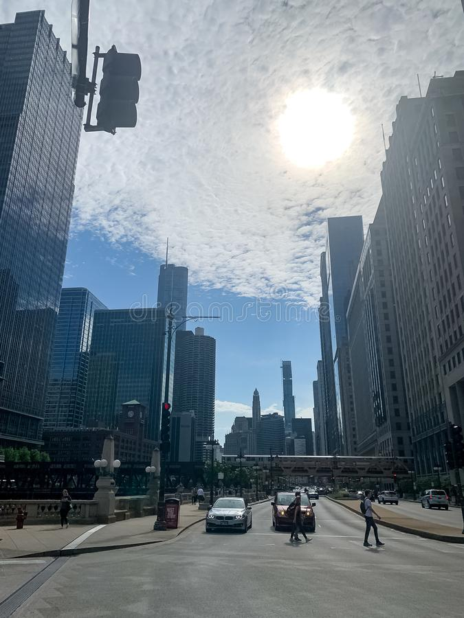 Wacker Drive during a morning commute as storm clouds clear away from the sun royalty free stock photos