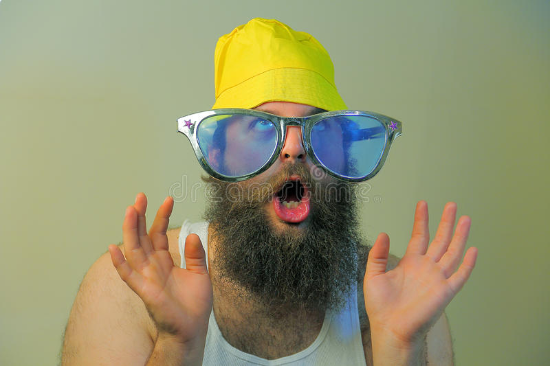 Wacky Excited Bearded Man royalty free stock image