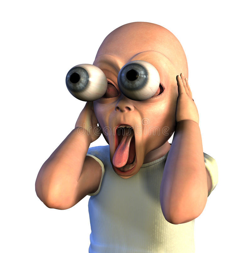 Wacky Shocked Baby - with clipping path stock images
