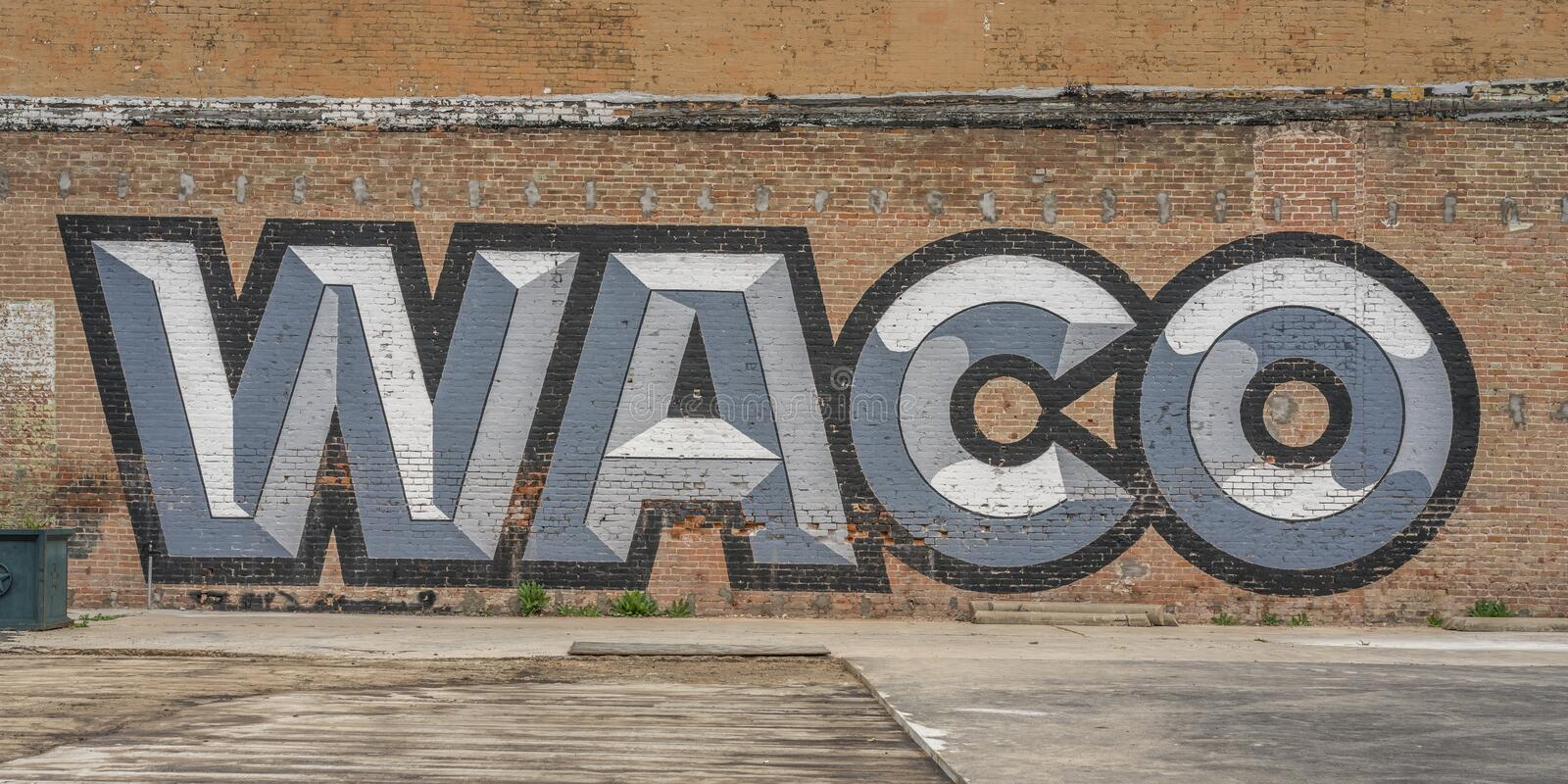 Waco Texas graffitti,. Red, Isolated royalty free stock photo