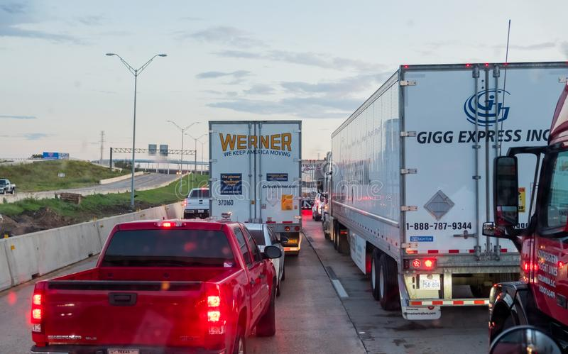 WACO, TEXAS, USA - OCTOBER 1, 2018 - Vehicles stuck in heavy traffic caused by accident on Interstate I-35 in Waco, Texas. royalty free stock photo