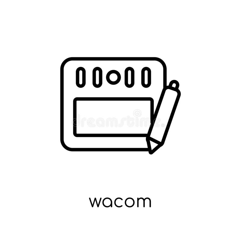 Wacom象 在白色的时髦现代平的线性传染媒介Wacom象 库存例证