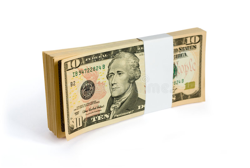 Download Wad Of 10 Dollar Bank Notes Stock Photo - Image: 6444048