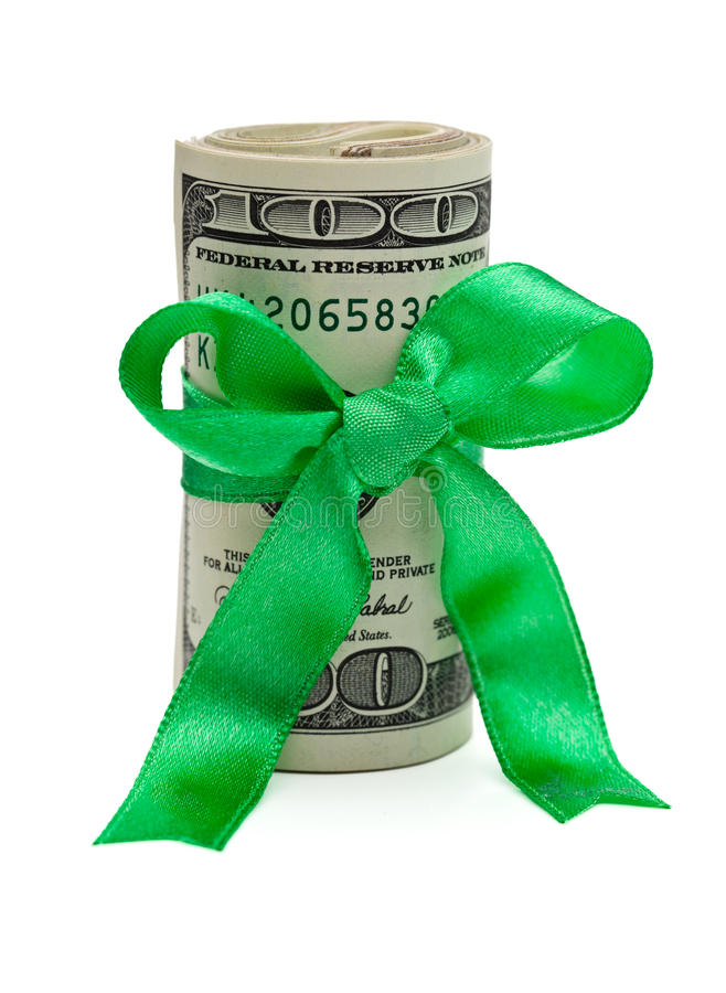 Wad Of Cash With Red Bow Royalty Free Stock Image