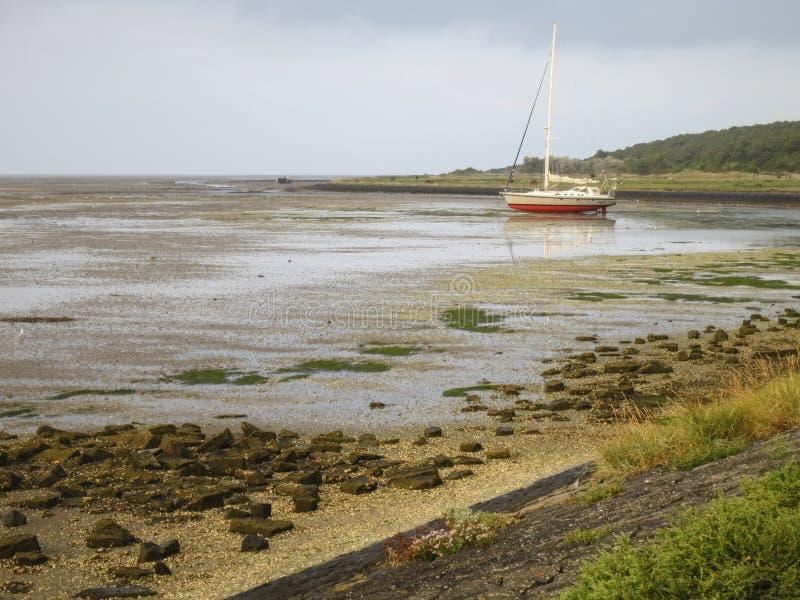 Waddenzee, Wadden Sea. Uitzicht op drooggevallen Waddenzee vanaf dijk op Vlieland; View at dried up Wadden Sea from at Vlieland stock photography