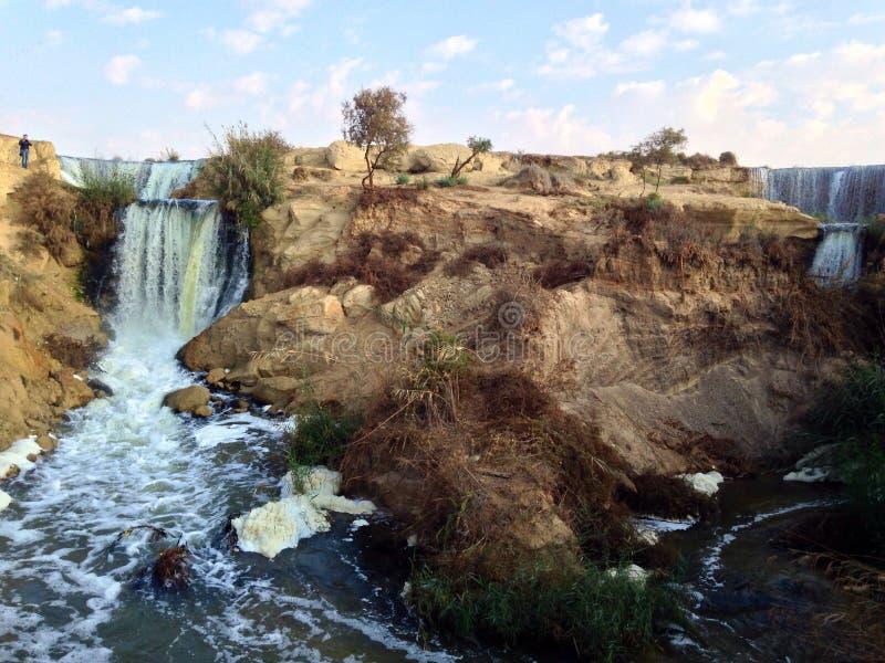 Wadi Al Rayan Waterfalls imagens de stock