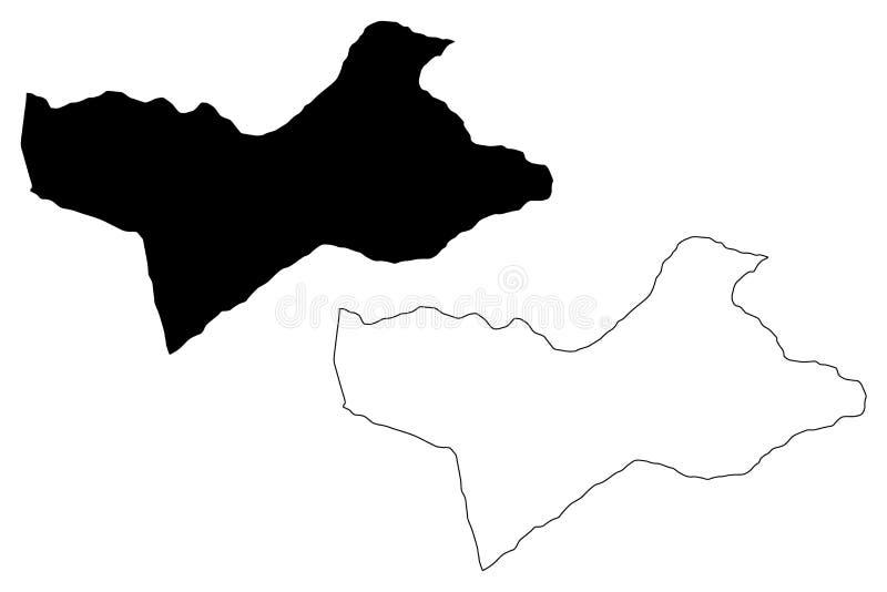 Wadi al Shatii District Districts of Libya, State of Libya, Fezzan map vector illustration, scribble sketch Wadi al Shatii map.  royalty free illustration