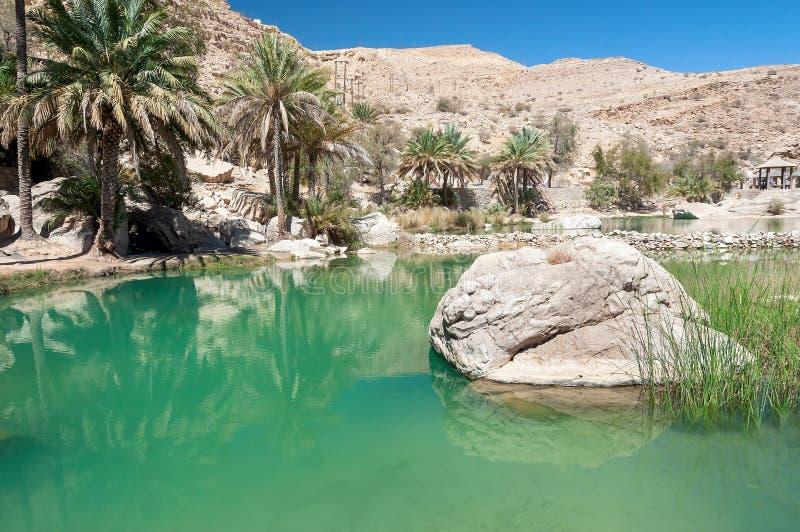 Wadi Bani Khalid - deserto dell'Oman - il sultanato dell'Oman immagini stock libere da diritti