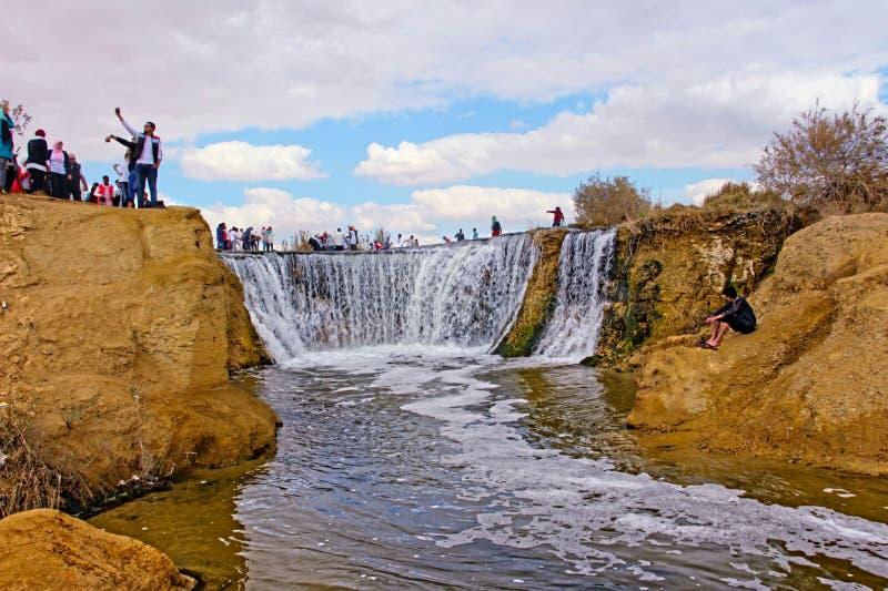 Wadi el Rayan falls. Water falls at wadi el Rayan in Western Desert of Egypt royalty free stock photography