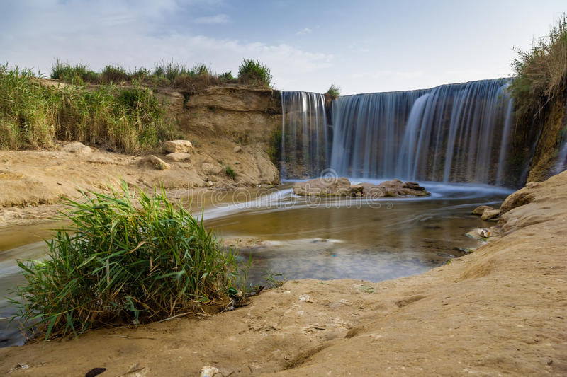 Wadi El-Rayan Waterfalls. The valley of Wadi El-Rayan is a reservation stretches on an area of 1759 km2, 113 km2 of which are the dominating water body of Wadi stock photo