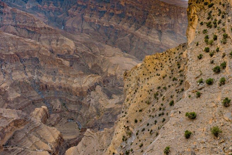 Wadi Ghul, ` s Grand Canyon dell'Oman fotografie stock