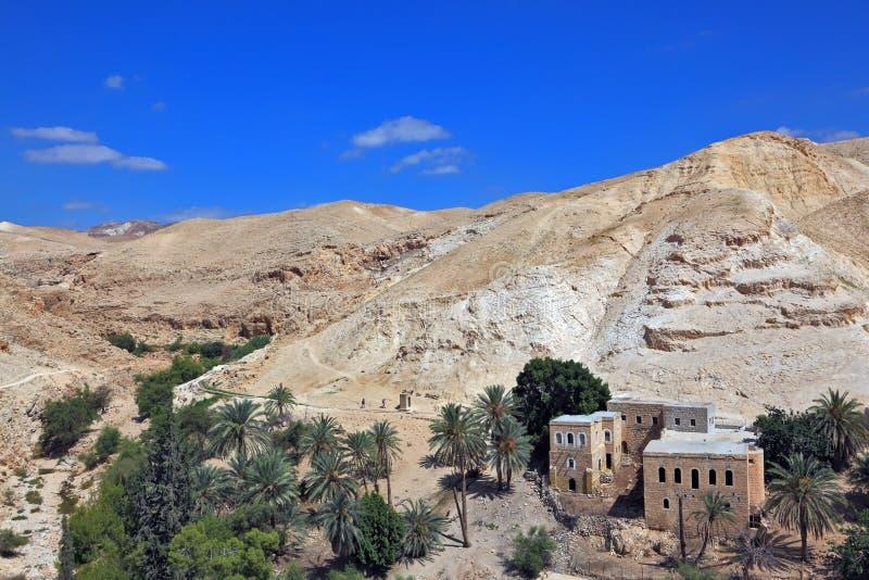 Wadi Kelt, nahe Jerusalem stockbilder