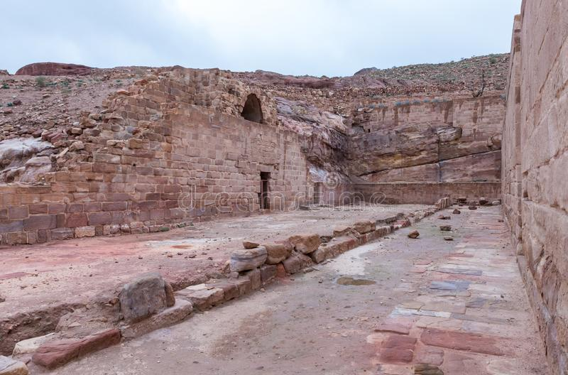 Remains of East part of Roman Temple in Petra. Near Wadi Musa city in Jordan stock image