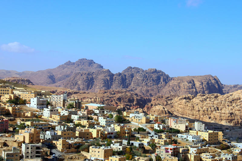 Wadi Musa, small town around Petra. Petra is one of the new Seven Wonders of the World stock image