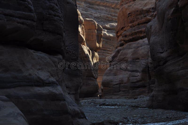 Wadi Numeira Canyon in Jordanië royalty-vrije stock afbeelding