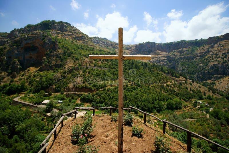 Wadi Qadisha dal monastero di Elishaa del san immagine stock libera da diritti