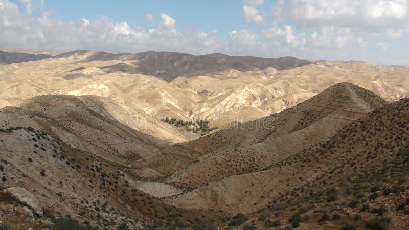 Wadi Qelt en el desierto de Judean cerca de Jericó, de la naturaleza, de la piedra, de la roca y del oasis Lugares no vistos, des imágenes de archivo libres de regalías