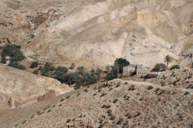 Wadi Qelt en el desierto de Judean cerca de Jericó, de la naturaleza, de la piedra, de la roca y del oasis Lugares no vistos, des fotografía de archivo libre de regalías